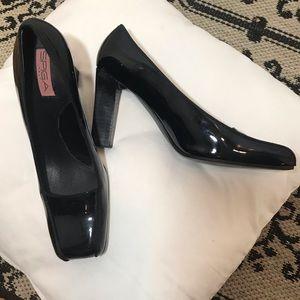 Spiga black patent square toe heels, size 8.5